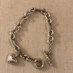 Cable Heart Charm Bracelet with toggle closure